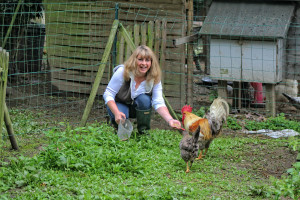 Janine Marsh with chickens